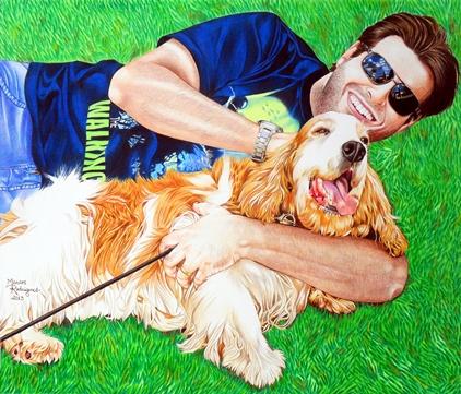 Retrato de  Eduardo Furlan e sua cadela Nicolinha. Técnica: lápis de cor