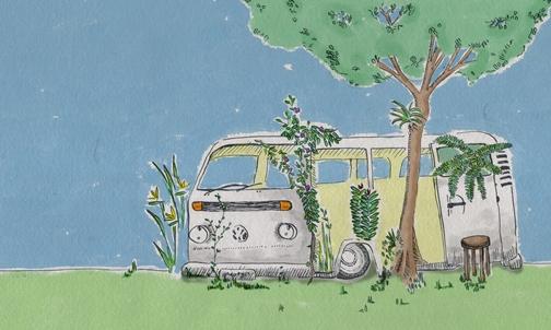 """""""A kombi que virou jardim (2011). Desenho em nanquim e coloração digital / Angela Bacon"""