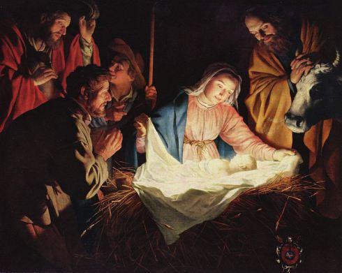 """Adoration of the Shepherds"" (1622) Óleo sobre tela (164 × 190 cm) Gerard (Gerrit) van Honthorst (1590 – 1656)"