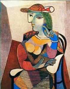 Mulher Sentada (1949) - A tela é uma homenagem de Picasso a Françoise Gilot, que à época estava grávida de sua filha, Paloma.