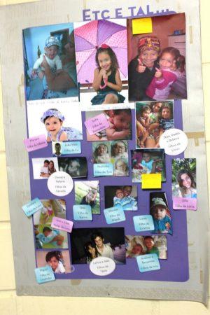 Mural com fotos dos filhos dos colaboradores da Ultimato