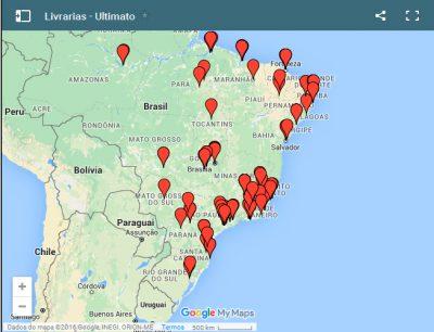 Uma amostra do mapa das livrarias na loja virtual da Ultimato.