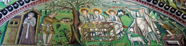 Detalhe de mosaico bizantino com com cenas da vida de Abraão. Século VI D. C. Basílica de São Vital, Ravena, Itália.