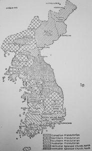 Territórios das missões protestantes na Coreia. Crédito: Antoinette McCune Bement.