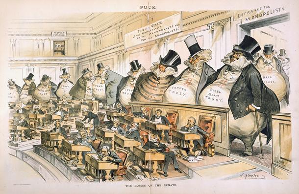 """""""The Bosses of the Senate"""" (Os donos do Senado), charge de Joseph Keppler, publicada em 1889."""