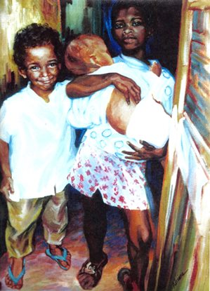 """""""Três crianças"""" - Adriana 18/50"""